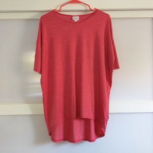 LuLaRoe Red Irma High Low Shirt XS Short Sleeve